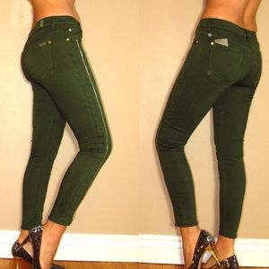 7 For All Mankind Cropped Skinny Army Green Jeans